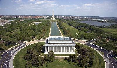 Lincoln memorial national mall dall'alto