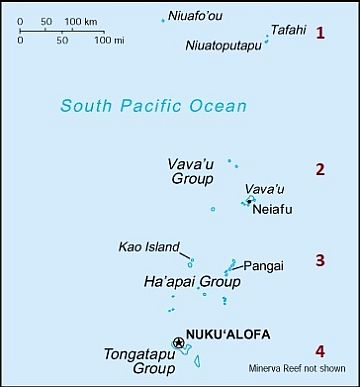 Divisione in gruppi nelle isole Tonga